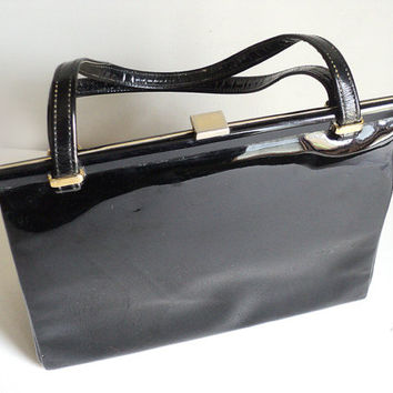 French Black Patent Handbag, Ladies Handbag, Vintage 50s 60s Handbag, Rockabilly, Evening Handbag