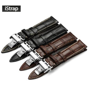 iStrap 20mm 21mm 22mm Black Brown Italian Genuine Leather Watch Strap Silver Deployment Buckle Watchband For LONGINES For Men