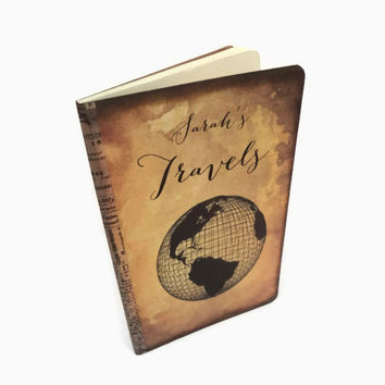 Personalized Travel Journal, World Map, Globe, Adventure Travel Notebook, Custom Travel Log, Old World Style Travel Journal
