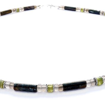 Mens Chakra Necklace Green Garnet Crystal Healing Stones Energy Balancing Jewelry Stable Relationships MN19