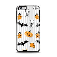 The Halloween Icons Over Gray & White Striped Surface  Apple iPhone 6 Plus Otterbox Symmetry Case Skin Set