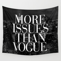 More Issues Than Vogue Black and White NYC Manhattan Skyline Wall Tapestry by RexLambo