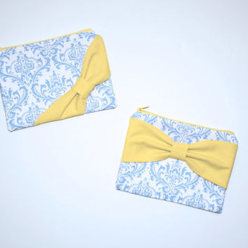 Zipper Pouch / Makeup Bag - French Blue Damask with Yellow Bow - Choice of Bow Style