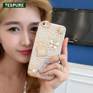 YESPURE Diamond Pearl Fancy Phone Cases for Girls 3D Perfume Case for Iphone 6 6s Luxury Women Mobile Phone Shell Accessories