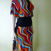 Colorful Tango / Salsa 2 Piece Dress Skirt & Top Size S/M fits US 4 to 8 Dance Skirt asymmetric Skirt -One of a Kind