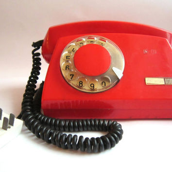 Vintage rotary red phone 1980s working