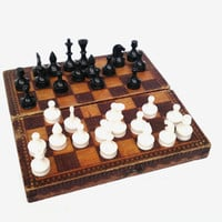 Vintage wooden chess board game handmade pyrography board game soviet union chess gift for him USSR collectible portable board game