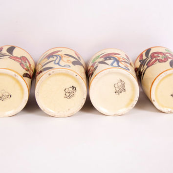 Vintage Sake Cups Set of 4 Hand Painted Made in Japan Kyoto Teacup Bird Design
