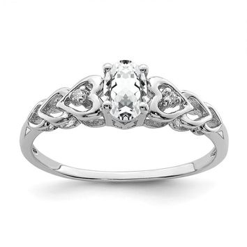 Sterling Silver April White Topaz & Diamond Hearts Birthstone Ring