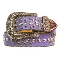 Luxury Divas Lavender Purple Lavish Rhinestone Stud Bling Belt Medium/Large