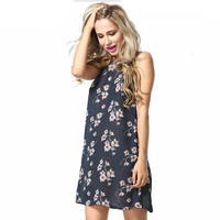 2016 Popular Women's Fashion Floral Printed Strappy Spaghetti Strap Sleeveless Sexy Casual Party Beach Summer Mini One Piece Dress  _ 3137