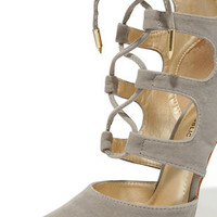Ties for You Grey Suede Lace-Up Heels