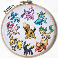 All Eeveelutions- PDF 9 Cross stitch patterns- Eevee, Jolteon, Flareon, Vaporeon, Umbreon, Espeon, Leafeon, Glaceon and Sylveon