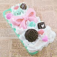Mint Green iPhone 4/4S Case - Decoden Hard Phone Case - Sweets Deco - Doughnut, Pink Bow, Bear, Ice Cream, Candy, Hearts - Whipped Cream