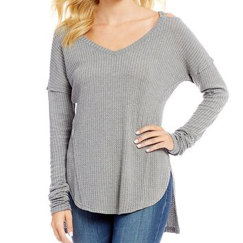 William Rast Ives Clavical Cut-Out Long-Sleeve Thermal Top | Dillards