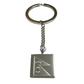 Silver Toned Etched Nepal Flag Pendant Keychain