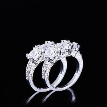 Exquisite Women Silver Plated Clear Zircon Wedding Ring Engagement Ring Statement Jewelry