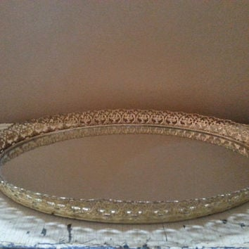Vintage Gold Filigree Oval Mirrored Vanity Tray 17 Inch Wall Hook