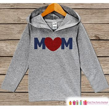 Mom Mother's Day Outfit - Navy & Red Heart Mom Hoodie - Boy's Best Mom Shirt - Children's Pullover - Grey Toddler Hoodie - Infant Hoodie