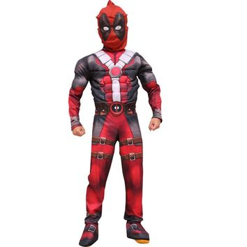 Halloween Deadpool Cosplay Costume Muscle Party Dress with mask Onesuit red Carnival Svengers Clothing For Kids