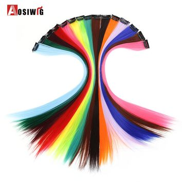 AOSIWIG 1 Clip In Long Straight Hair Extensions Fake Hairpieces Heat Resistant Synthetic Fake Hair Extensions Only One