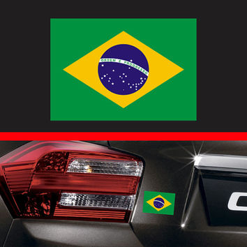 "4"" Brazil Brazilian Flag Sticker Vinyl Decal Sao Paulo Brazilian Car Truck Sticker Macbook pro Air Decal Skin iPad Decal Fit Honda Acura"