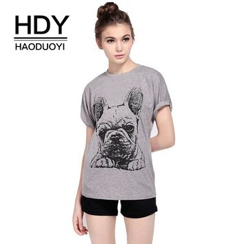 Gray Bulldog Print Casual Short Sleeve T shirt Women Summer Shirts Cartton Slim Fit T-shirts Basic Tee Tops