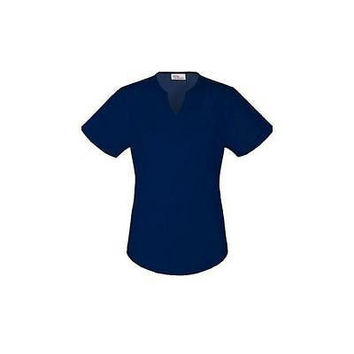 Vital Threads Women's Split V-Neck Core Scrub Top, Large, Navy, 77948