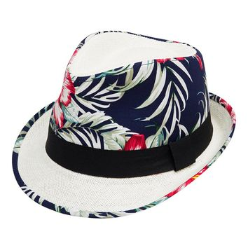 Navy Flower Fabric Straw Fedora