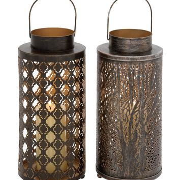 Uniquely styled metal candle lantern 2 assorted