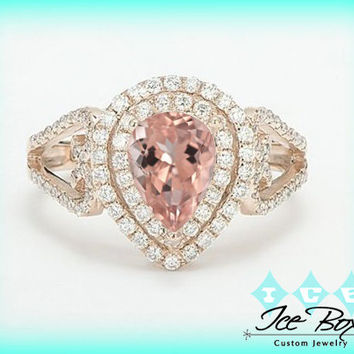 Morganite Engagement Ring Pear Cut in 14K Rose Gold Diamond Double Halo setting