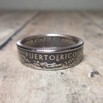 Puerto Rico State Quarter Coin Ring Size 5.5 to 12