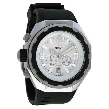 Nixon Steelcat Chronograph White Dial Black Silicone Mens Watch A313-100