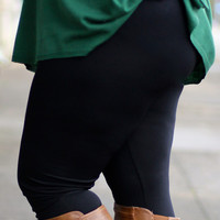 Fleece Lined Black Legging {Curvy}