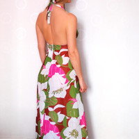 Vibrant Colors Long Floral Maxi Dress Halterneck Vintage Summer Dress With Open Back Flower Pattern With Green White Pink
