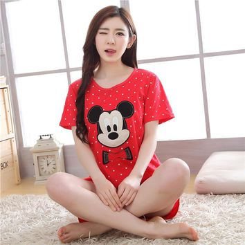 Plus Size Women Clothes Set Pajamas Set Maternity Sleepwear Soft Cotton Short Sleeve Tops&Short Maternity Pajamas Mickey Mouse