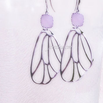 Pink Wedding Dangling Earrings Bridal Jewelry Silver Dragonfly Wings Butterfly Bridesmaids Gift Soft Blush Lilac Mauve Romance Dreamy C1
