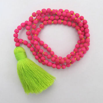 Hot Pink Beaded Tassel Necklace - Chunky Lime Green Tassel - Long Beaded Necklace