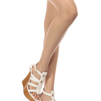 White Faux Leather Cage Cut Wedges