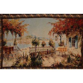 Tache 28 x 47 Inches Summer Ocean View Table for Two Tapestry Wall Hanging With Hanging Loops (WH-DA13571B)