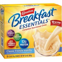 Carnation Breakfast Essentials Classic French Vanilla Complete Nutritional Drink Mix, 1.26 oz, 10 count - Walmart.com