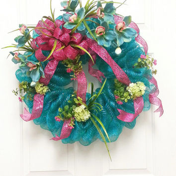 Beautiful Turquoise and Pink Deco Mesh Wreath