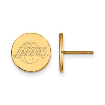 NBA 14k Yellow Gold Plated Silver Los Angeles Lakers Sm. Disc Earrings