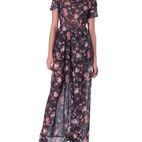 In Love With Floral Print Jumpsuit - Black
