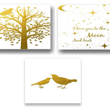 Set Of Three Gold Foil Tree And Birds Print For Kids Wall Decor,Nursery Art,Nursery Wall Decor,Printable Art,Class Room Wall Decor