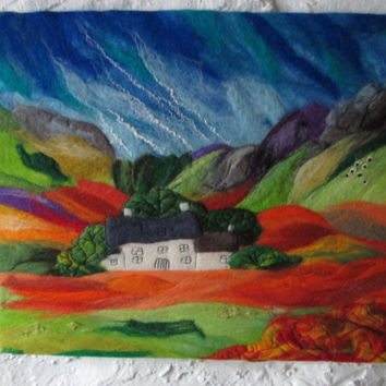 textile wall art, wet felted landscape with stitch.