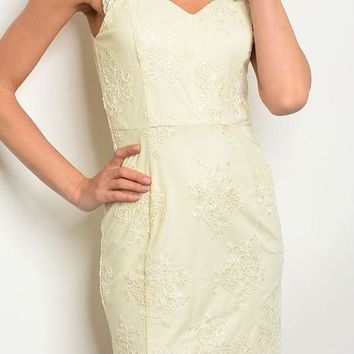 Cut Out Full Lace Dress - Cream