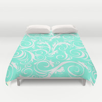 Mint Floral Duvet Cover by Beautiful Homes