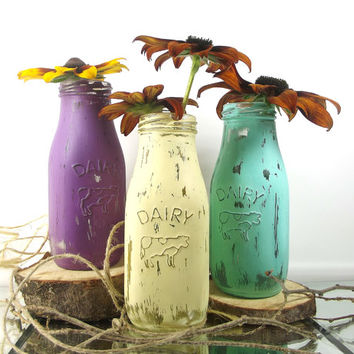 Hand Painted Milk Bottles - Glass Vase Set - Shabby Cottage Chic, Tabletop Decor