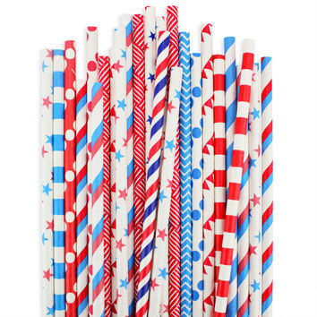 Patriotic Paper Straw Assortment